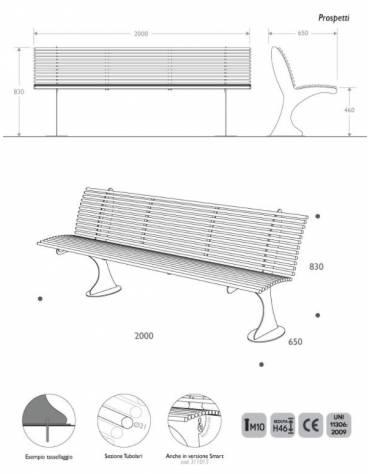 Panca da esterno con  schienale in acciaio zincato -Vericiato a forno -cm 150x70x73 h