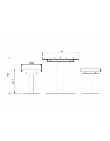 Set composto da tavolo + 2 panchine con schienale e braccioli ,struttura in acciaio e doghe in legno di pino -Lunghezza cm 150