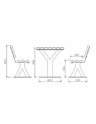 Set composta da tavolo + 2 panchine con schienale in legno di pregio, struttura in acciaio zincato e verniciato - cm 200x219,8x8