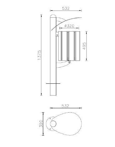 Cestino portarifiuti a forma cilindrica con doghe in legno di pregio e coperchio, da inghisare - cm 39x53,2x117,5h