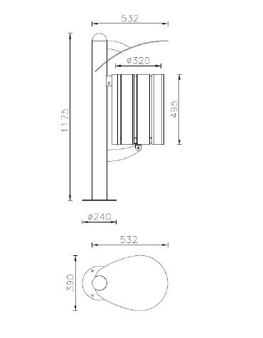 Cestino portarifiuti a forma cilindrica con doghe in legno di pregio e coperchio, da tassellare - cm 39x53,2x117,5h