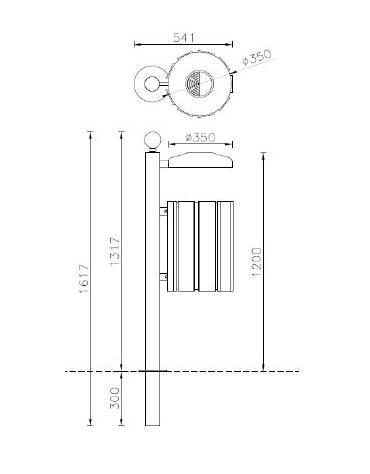 Cestino portarifiuti a forma cilindrica,paletto da inghisare, doghe in legno di pregio e coperchio cm 35x47,6x161,7h