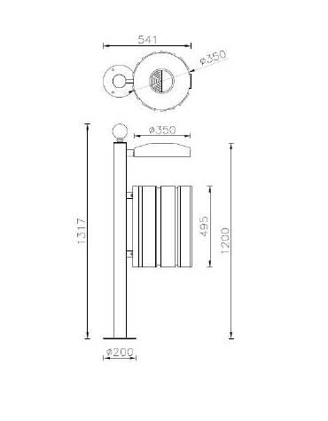 Cestino portarifiuti a forma cilindrica,paletto da tassellare, doghe in legno di pregio e coperchio cm 35x47,6x131,7h