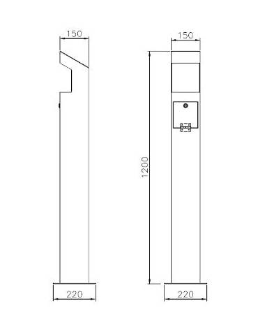 Colonnina per raccolta pile esauste, realizzato in acciaio zincato e verniciato - da tassellare - cm 15x15x120h
