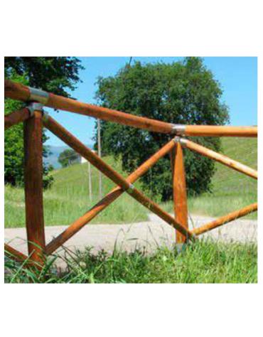 Recinzione a croce in legno di pino e accessori in acciaio zincato e verniciato - Lunghezza cm 100