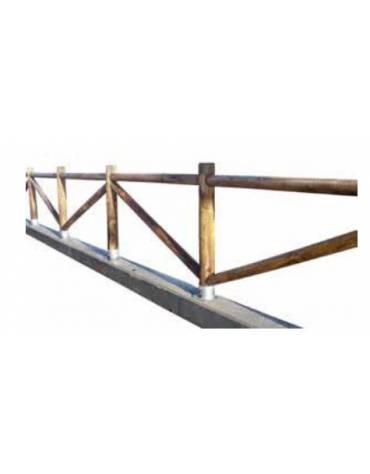 Recinzione in legno di pino - con bicchieri in acciaio zincato da tassellare - Lunghezza cm 100