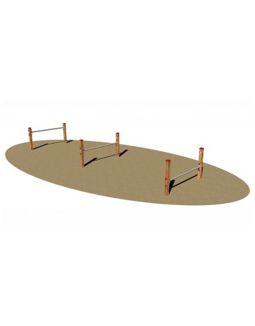 Superamento ostacoli per cani, in legno di pino nordico e barre orizzontali in acciaio - cm 525 x 134 x 70h