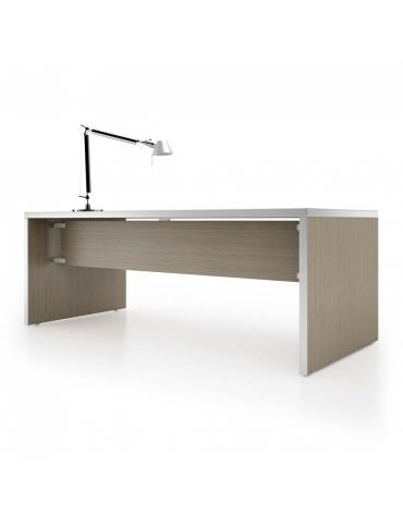 Scrivania lineare gonna, fianco legno dist. alluminio 200x90x74h