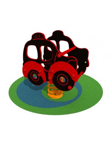 Gioco a molla monoposto Taxi - in legno - cm 46x66x70h