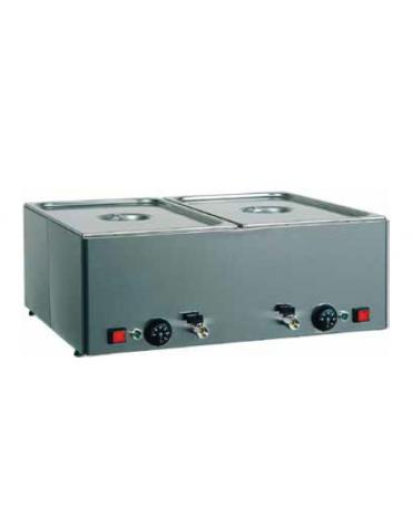 Tavola calda da banco inox bagnomaria - Temperature differenziate - capacità 1 bacinelle GN1/1 - cm 33x54x22h