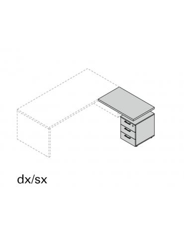 Allungo Dx/Sx con cassettiera 3 cassetti per linea special