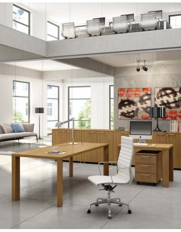 scrivania lineare gamba legno 200x90x74h