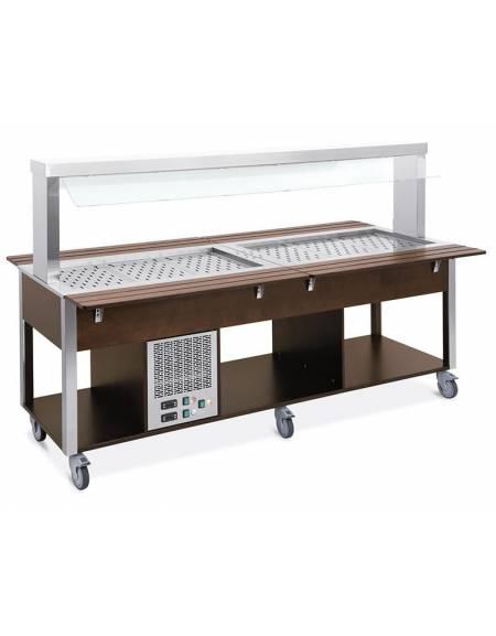 Carrello buffet misto freddo/caldo, parafiato fisso - 4 vani GN1/1 (2 caldi + 2 freddi) - Rovere o Wengè - cm 161x68x144h