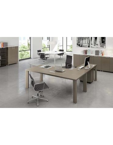 Composizione scrivania g. legno e allungo 200x190x74