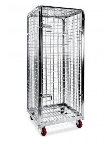 Carrello Roll container antifurto in acciaio inox - 4 sponde (1 apribile) e cappello superiore - portata 600 Kg - cm 70x80x180h