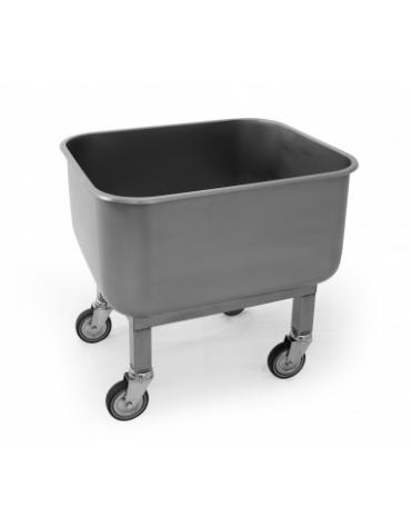 Vasca carrellata in acciaio inox AISI 304 con rubinetto di scarico - Lt. 90 - cm 60x50x60h