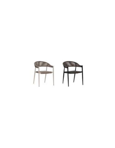 Poltroncina, in alluminio verniciato, seduta e schienale in piattina di polietilene - cm 49x45x76h