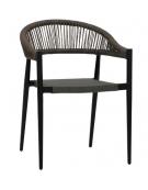 Sedia con struttura in alluminio verniciato, seduta in textilene, schienale in corda - cm 49x45x76h