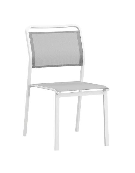 SEDIA con struttura in alluminio verniciato, seduta e schienale in textilene - cm 45x46x88h
