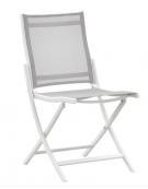 Sedia con struttura pieghevole in alluminio verniciato, seduta e schienale in textilene - cm 44x45x84h