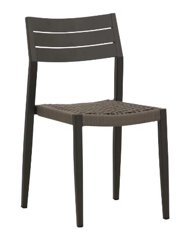 SEDIA con struttura in alluminio verniciato, seduta in corda - cm 41x45x80h