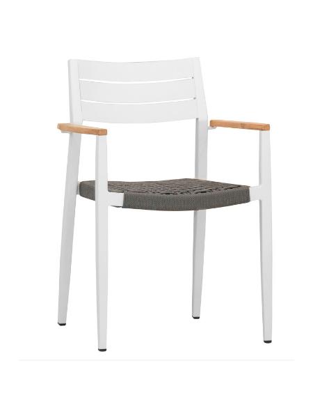 POLTRONCINA con struttura in alluminio verniciato, seduta in corda, braccioli in teak - cm 41x45x80h