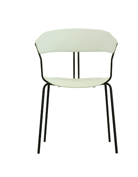 Sedia con struttura in metallo verniciato, seduta e schienale in polipropilene - cm 41x43x77h