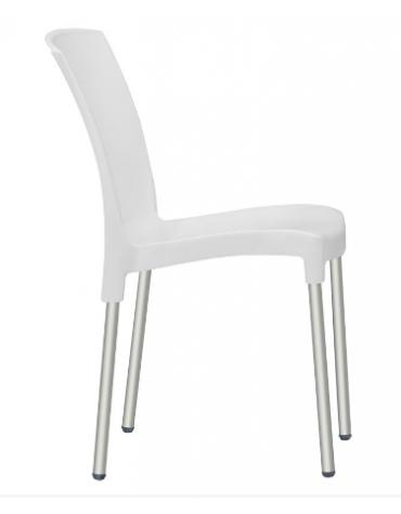 Sedia con gambe in alluminio anodizzato, scocca in polipropilene - cm 40x41x82h