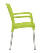 Poltroncina con gambe in alluminio anodizzato, scocca in polipropilene - cm 48x41x82h