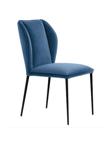 Sedia per interni con struttura in metallo verniciato, gambe nere, scocca rivestita in velluto - cm 45x43x89h