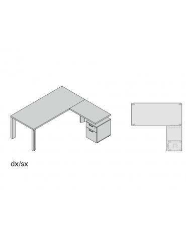 Composizione g legno scrivania e allungo 2 cassetti 180x190x74h