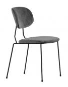 Sedia per interni con struttura in metallo verniciato, rivestimento in velluto - cm 45x43x85h