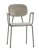 Poltroncina per interni con struttura in metallo verniciato, rivestimento in velluto - cm 45x43x85h