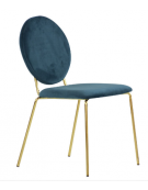 Sedia per interni con struttura in metallo ottonato, seduta e schienale in velluto - cm 45x43x87h