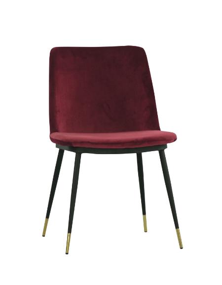 Sedia per interni con struttura in metallo verniciato, piedi in acciaio inox ottonato, rivestimento in velluto - cm 50x45x82h