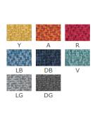 Poltroncina per interni con struttura in metallo ottonato, rivestimento in tessuto - cm 45x45x82h