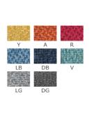 Poltroncina per interni con struttura in metallo verniciato, rivestimento in tessuto - cm 48x45x79h