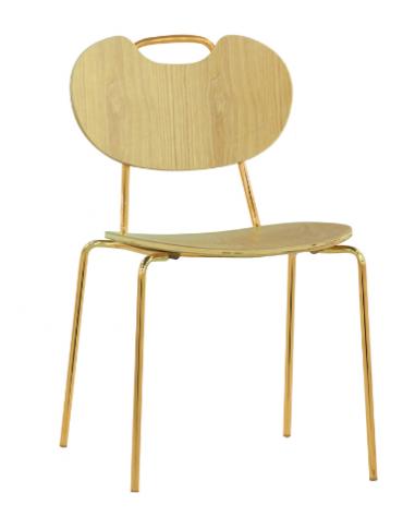 Sedia per interni con struttura in metallo ottonato, seduta e schienale in legno multistrato - cm 48x45x83h