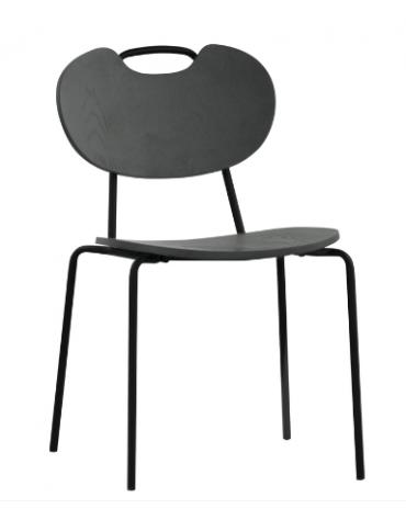 Sedia per interni con struttura in metallo verniciato, seduta e schienale in legno multistrato colore Nero - cm 48x45x83h
