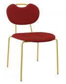 Sedia per interni con struttura in metallo ottonato, seduta e schienale in velluto - 48x45x83h