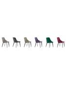 Sedia per interni con struttura in metallo verniciato, rivestimento in velluto - cm 43x46x81h
