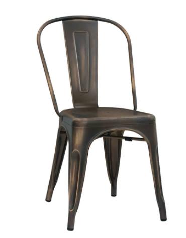 Sedia per interni in metallo verniciato, effetto canna di fucile - cm 36x36x85h