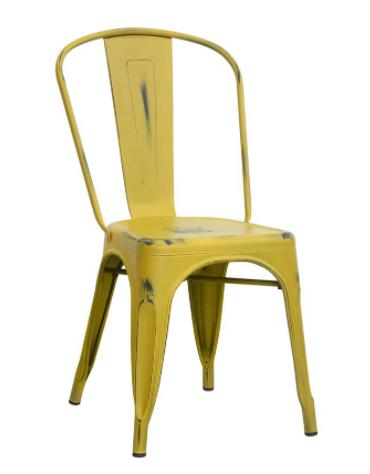 Sedia per interni in metallo verniciato, effetto anticato, vari colori - cm 36x36x85h