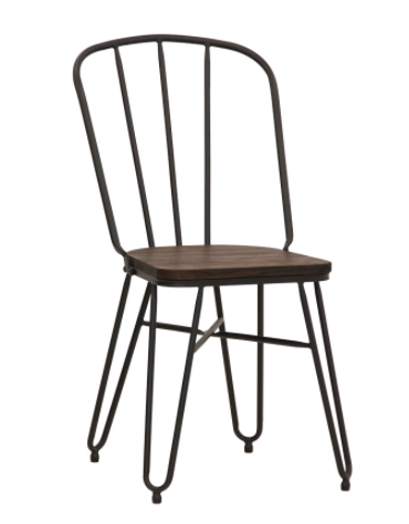 Seduta per interni con struttura in metallo verniciato, seduta in legno - cm 36x36x86h