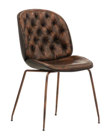 Sedia per interni con struttura in metallo verniciato, rivestimento in  ecopelle anticata - cm 44x39x86h
