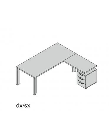 Composizione gamba legno con allungo e 2 cassetti special L180
