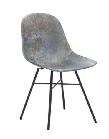 Sedia per interni  in metallo verniciato, scocca in ABS sfumata Marrone- cm 46x45x86h