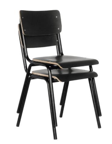 Sedia per interni con struttura in metallo verniciato, seduta e schienale in formica o in legno multistrato - cm 45x45x80h