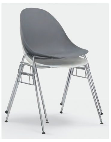 Sedia per interni, struttura in metallo cromato, scocca in polipropilene - cm 43x40x80h