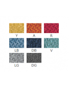 Sgabello per interni, struttura in metallo ottonato, rivestimento in tessuto - cm 38x40x93h
